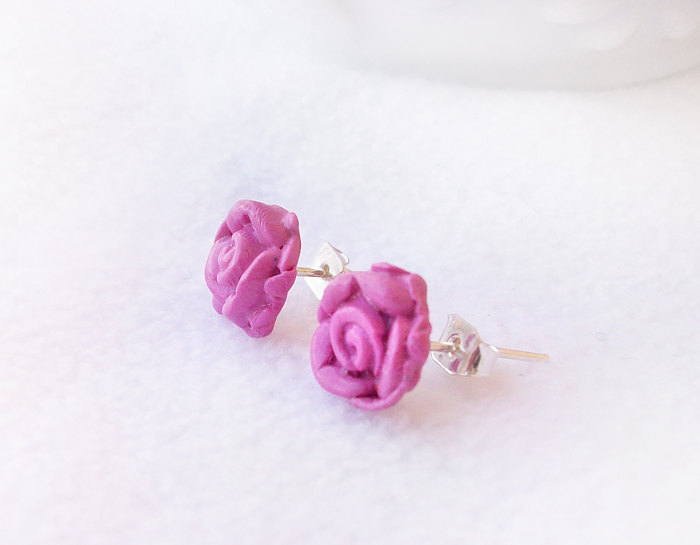 On sale - Pink Rose Stud Earrings, Polymer Clay, Handmade, Nickel Free, with GIFT BOX